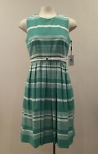 Calvin Klein - Grass White Sleeveless Belted Striped Fit and Flare Dress - Sz: 6
