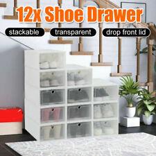 12x Stackable Transparent Shoe Drawer Storage Organizer Box Boxes Household AU
