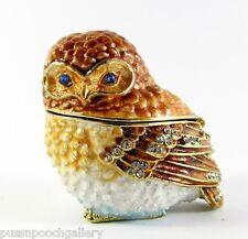 Sitting Owl Jewelled Trinket Box or Figurine