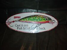 LARGE  RAPALA CAST IT OUT , FISH BRING IT BACK ADVERTISMENT OVAL  METAL SIGN