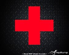 """2X RED COLOR CROSS Sticker Vinyl Decal Icon First Aid- 4"""""""