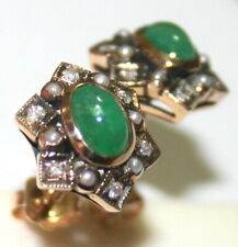 Pearl Hand Made Flower Stud Earrings Antique Art Deco 9K Gold Emerald Diamond