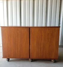 1960s Mid-Century Modern Hacker Radio Teak Rolling Media Cabinet  record console