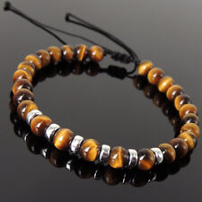 Men's Women Braided Bracelet Brown Tiger Eye 925 Sterling Silver Spacers 1160
