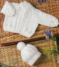 """S3801 Vintage Baby Knitting Pattern, Cardigan and Bobble Hat QK/DK 12-20"""""""