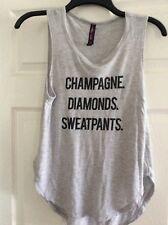 Betsey Johnson XS Yoga Top Champagne Diamonds & Sweatpants