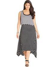 Style & Co. Black White Striped Layered Look Sleeveless Dress NWT Plus Size 3X