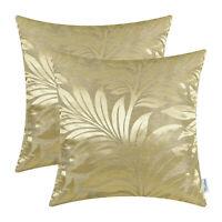 """2Pcs Gold Cushion Cover Pillows Shells Tropical Fern Leaf Sofa Home Decor 18x18"""""""