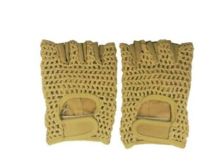 Leather Crochet Bicycle Gloves - British Tan
