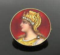 Antique 0.10ct Rose Cut Diamond & Enamel 18K Yellow Gold Dragon Valkyrie Pin
