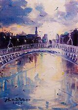 Original Oil Painting, Hapenny Bridge Dublin Dusk. Irish art Bill OBrien