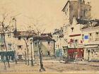 Paris Montmartre , Place du tertre . Aquarelle de Jules CHOQUET ( 1846-1937 )