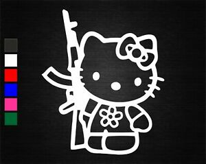 HELLO KITTY RIFLE GUN FUNNY JDM DECAL VINYL STICKER CAR/VAN/DOOR/WINDOW/TABLET