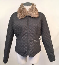 Obey Women's Wool Jacket Buffalo Mountain Charcoal Size S NWT Faux Fur Quilted