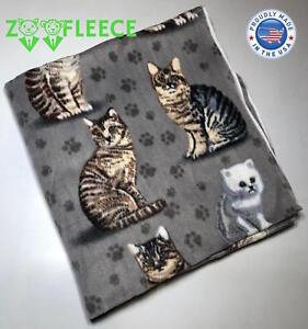 """ZooFleece 50X60"""" Gray Blanket Throw Quilt Cat Kittens Feline Winter Comfort Paws"""