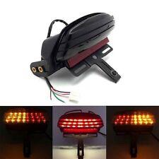 Black Tri-Bar Fender LED Tail Light Bracket Turn Signal For Harley Softail FXST
