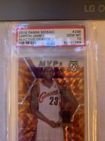 LeBron James 2019 Panini Mosaic #298 MVPs Reactive Orange PSA 10 Gem Mint