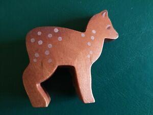 Rare Ostheimer Deer Small Head Low Wooden Figurine - Waldorf