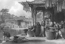 Ancient China WORKER DYE SILK STRANDS CLOTH MOTHS ~ Old 1842 Art Print Engraving