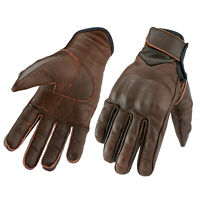 Gallanto Brown Motorcycle Armoured Thinsulate Leather Winter Short Gloves Biker