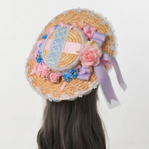 Lolita Girls Hat Straw Hat with Floral Aternoon Tea Pastoral Women Victorian