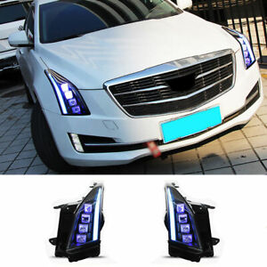 For Cadillac ATS LED Headlights Projector All LED DRL Replace OEM Halogen 13-18