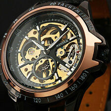 Winner Automatic Stainless Steel Case Leather Strap Skeleton Mechanical Watch