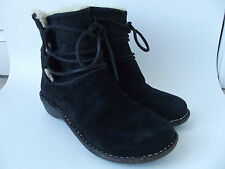 UGG AUSTRALIA Black Leather Sheepskin Lining Lace Up Ankle BOOTS Womens Shoes 6