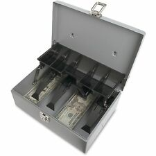 """Sparco Cash Box 5 Comptmts Spring Clips 10-1/2""""x7-3/8""""x 4-1/2"""" Gy 15507"""