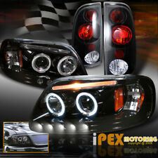 For 1997-2003 Ford F150 Halo Projector Shiny Black LED Headlights + Tail Lights