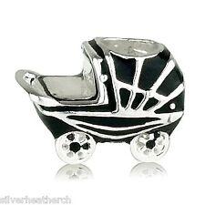 Black Enamel Baby Pram Sterling Silver Bracelet/Bangle Charm Bead