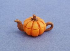 Miniature Dollhouse Orange Pumpkin Teapot 1:12 Scale New