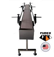 "Furex Stainless Steel 8' x 7.5"" Inline Conveyor with Plastic Table Top Belt"
