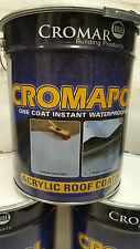 "Cromapol   Acrylic Roof Coat   Roof REPAIR PAINT   FREE Brush 2""   20kg SEALER"