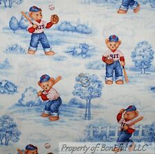 BonEful Fabric FQ Cotton Quilt White Blue Boy Bear Baseball Glove Bat Toile Tree