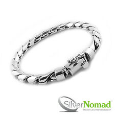 "925 Sterling Silver Gents Men's Rounded Curb Bracelet Link & Chain 9"" Gift UK"