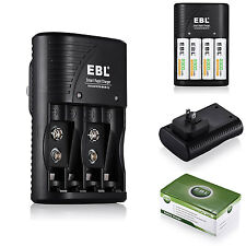 EBL 4 Bay LCD Rapid Battery Charger For AA AAA 9V NiMH NiCD Rechargeable Battery