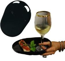 12 Reusable Party Plates -  One-Handed Plastic Event Snack Trays - Freehander
