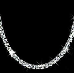 30 Ct Round Cut D/VVS1 Diamond Tennis Necklace Solid 14K White Gold Finish