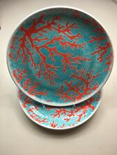 Cynthia Rowley Set Of 4 Dinner plates Coral- Coastal- Melamine