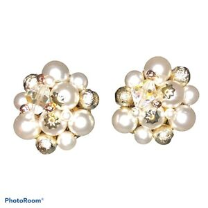 Classic Cluster Faux Pearl Beaded Clasp Clip On Earrings