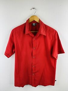 Rusty Men's Short Sleeve Shirt Size M Red Striped Casual Logo Collared Button Up