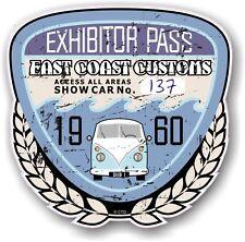 Retro Effetto Invecchiato Custom CAR SHOW ESPOSITORE PASS 1960 VINTAGE vinyl sticker decal