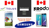 TELUS / KOODO  Unlock Code Available for All Samsung Models (S AND NOTE SERIES)
