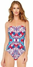 NEW Harrods Gottex Swimsuit One-Piece Harlequin UK12/US10/D40/S Bandeau Costume