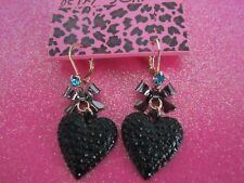 Betsey Johnson Black Heart Dangle Earrings
