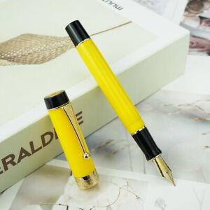 Yellow Jinhao 100 Centennial Resin Fountain Pen EF/F/M Bent Nib Writing Gift Pen