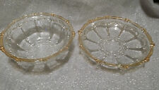 Antique / VTG Clear Glass Bowl & Plate Set With Yellow Edges Jubilee