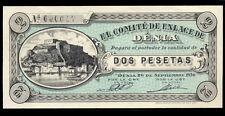 012-INDALO-Denia, Alicante.2 Pesetas Septiembre 1936. Con numeración y firmas.SC