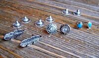 Earrings Set Rhinestones Silver Feather Heart Gypsy Boho Cowgirl Fashion Jewelry